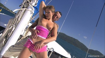 Olivia is aboard a great sailing ship and has anal